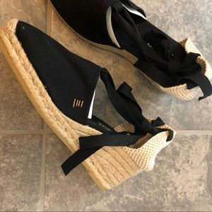 Shoes - Black strappy espadrille wedge